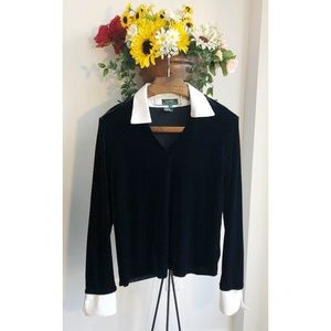 RALPH LAUREN BLACK VELVET BLOUSE